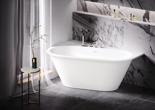 PAA Silkstone Deco Shape bathtub example with irregular angle sides, rounded front corners and mixer holes
