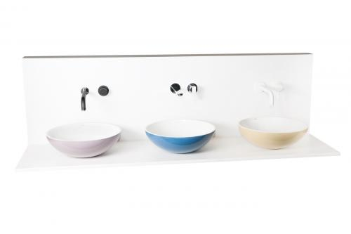 PAA Cast stone washbasins Round On Duo color version with Rubinetterie Giulini mixers