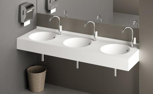 PAA washbasin Silkstone ROUND 1800x500x150 mm with 3 x bowls project example for public space