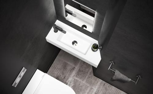 PAA Silkstone small size washbasin STRETTO 668x260 mm - product design top view sample