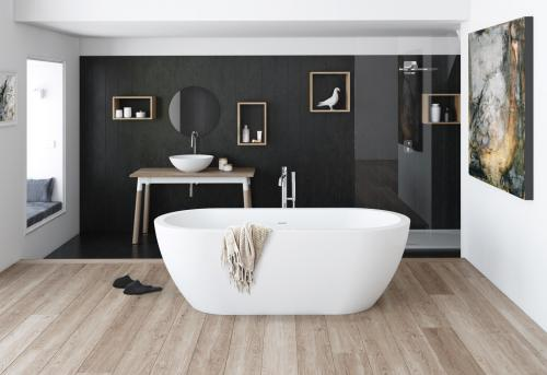 Free standing acrylic bath Opera with integrated drain-overflow