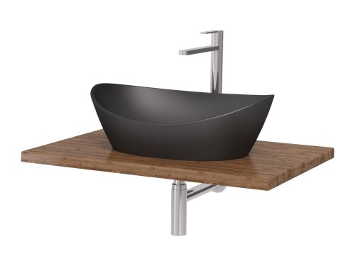 PAA washbasin Amore Graphite on wooden surface with mixers